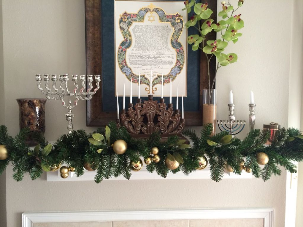 Garland with Glass Ornaments and Menorah for Hanukkah