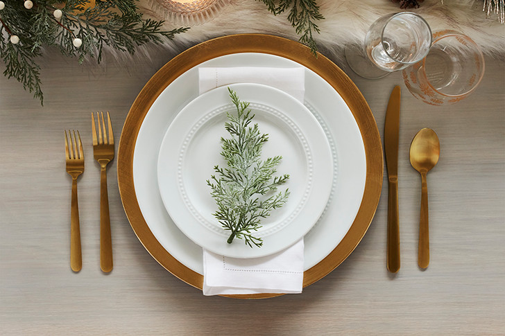 Greenery- Brass Gold Dinnerware