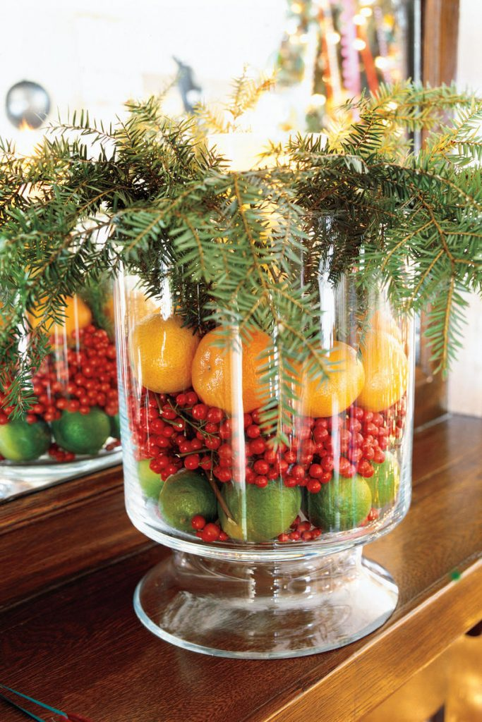layered fruit in glass vase