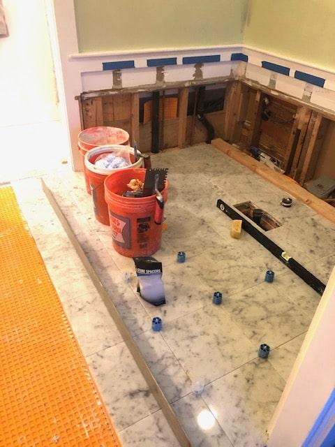 Tile Installation Progress