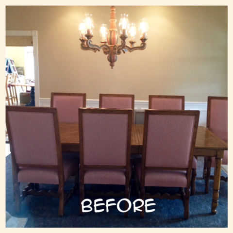 BEFORE: Dining Room and Original Chandelier