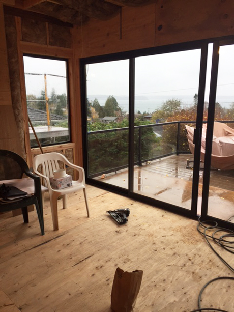 New Sliding Doors to the Deck with View of Puget Sound-Award Winning Kitchen Design