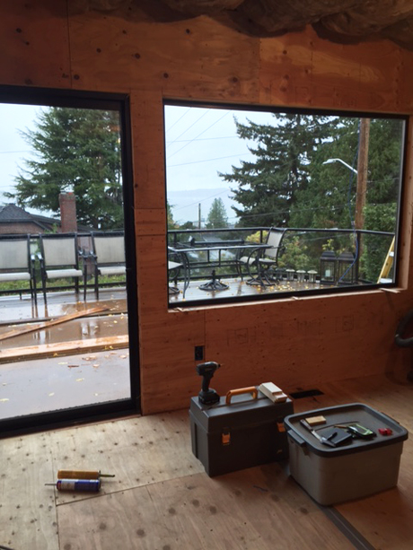 New windows installed looking toward the Puget Sound-Award Winning Kitchen Design