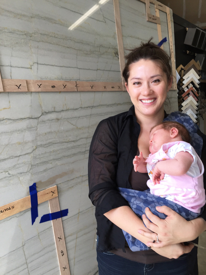 Templating the Granite with Maria and her new Baby